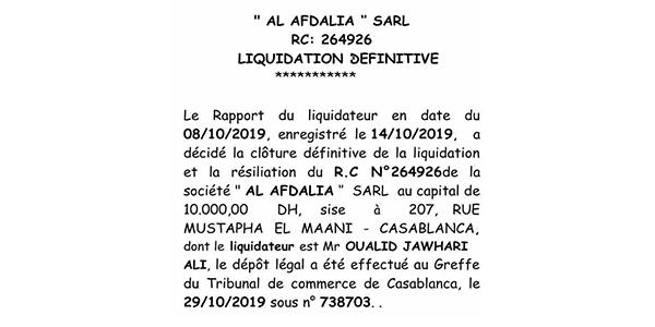 annonce légale liquidation