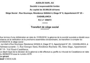 Transfert du siège social