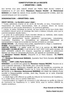 annonce constitution sarl
