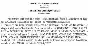 -transfert de siège social-