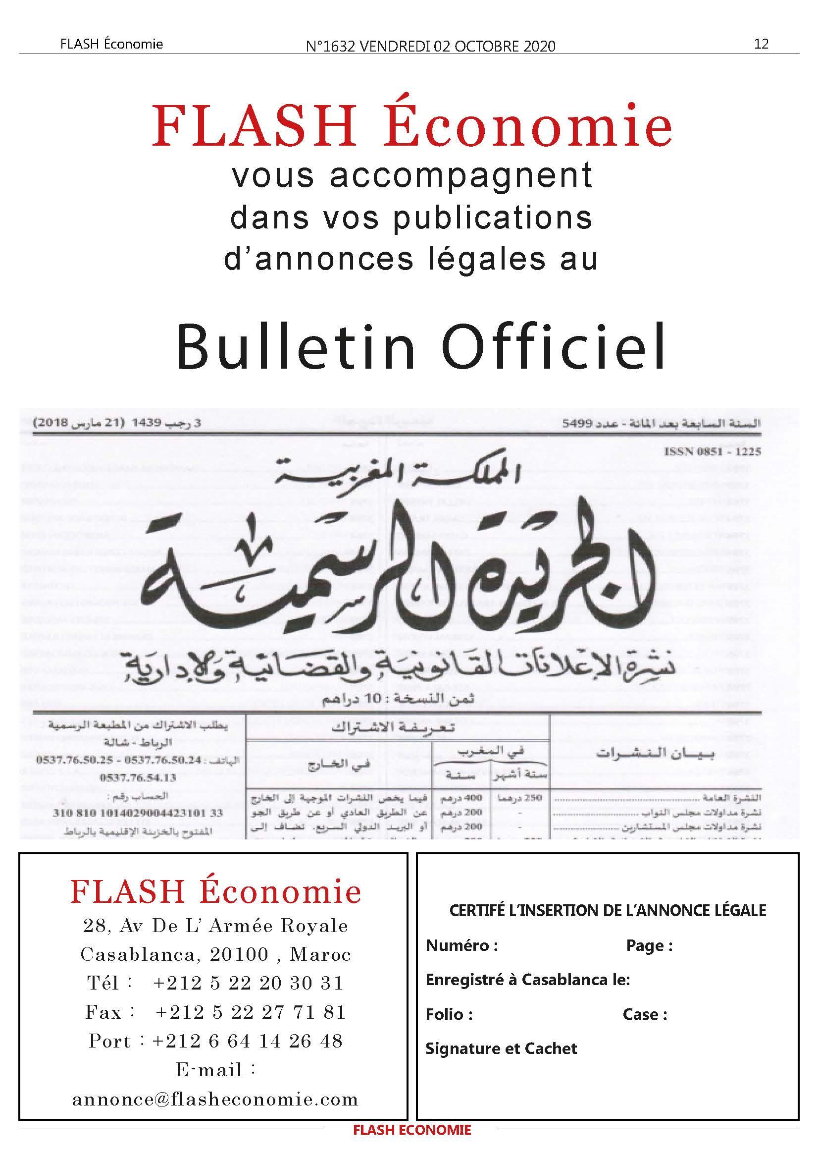 annonce bulletin officiel Maroc