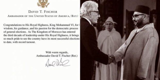 David T.Fischer félicite le Roi Mohammed VI pour le bon déroulement des élections 2021